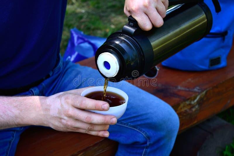 Las manos del ` s de los hombres vierten té Manos que sostienen una taza y un termo fotografía de archivo libre de regalías