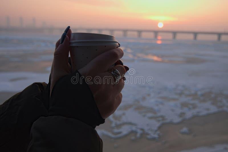 Las manos del ` s de las mujeres sostienen la taza de papel del café Salida del sol asombrosa en una mañana fresca del invierno e fotografía de archivo libre de regalías