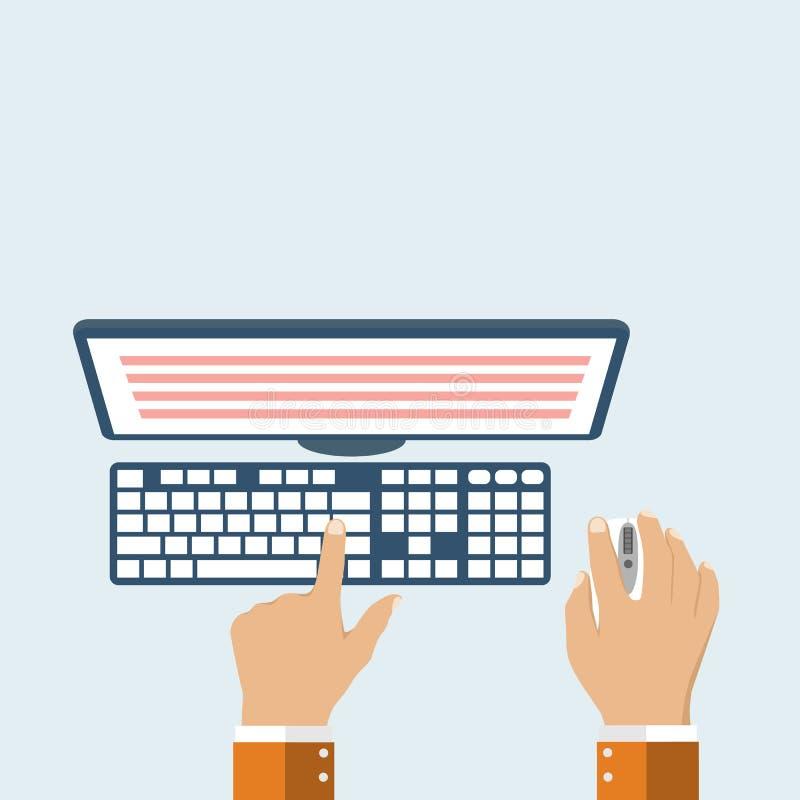 Las manos del usuario en el teclado y el ratón del ordenador libre illustration