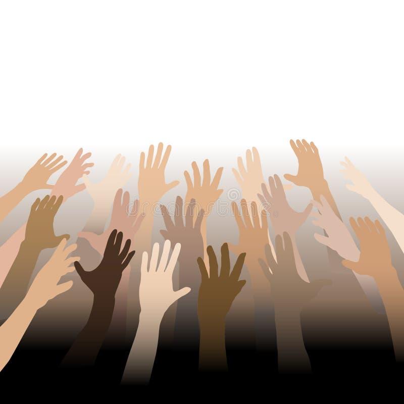 Las manos diversas de la gente alcanzan para arriba hacia fuera para copiar el espacio ilustración del vector
