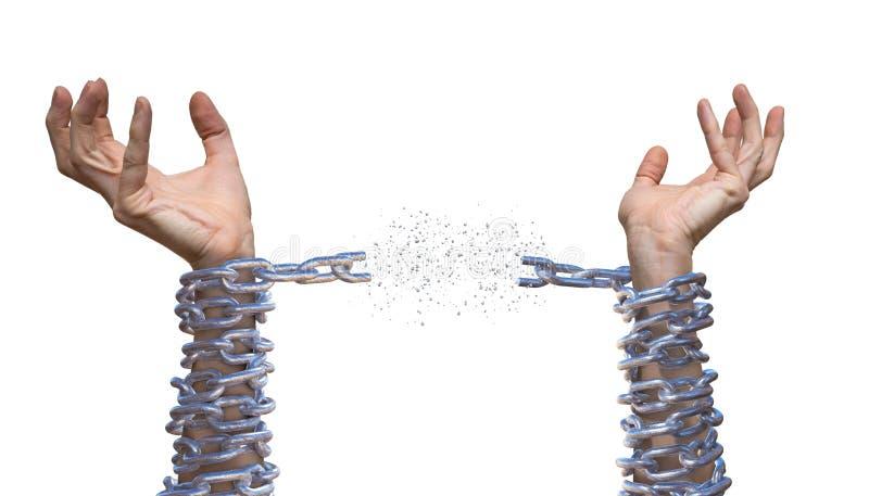 Las manos están rompiendo la cadena Concepto de la esclavitud Aislado en el fondo blanco imagen de archivo