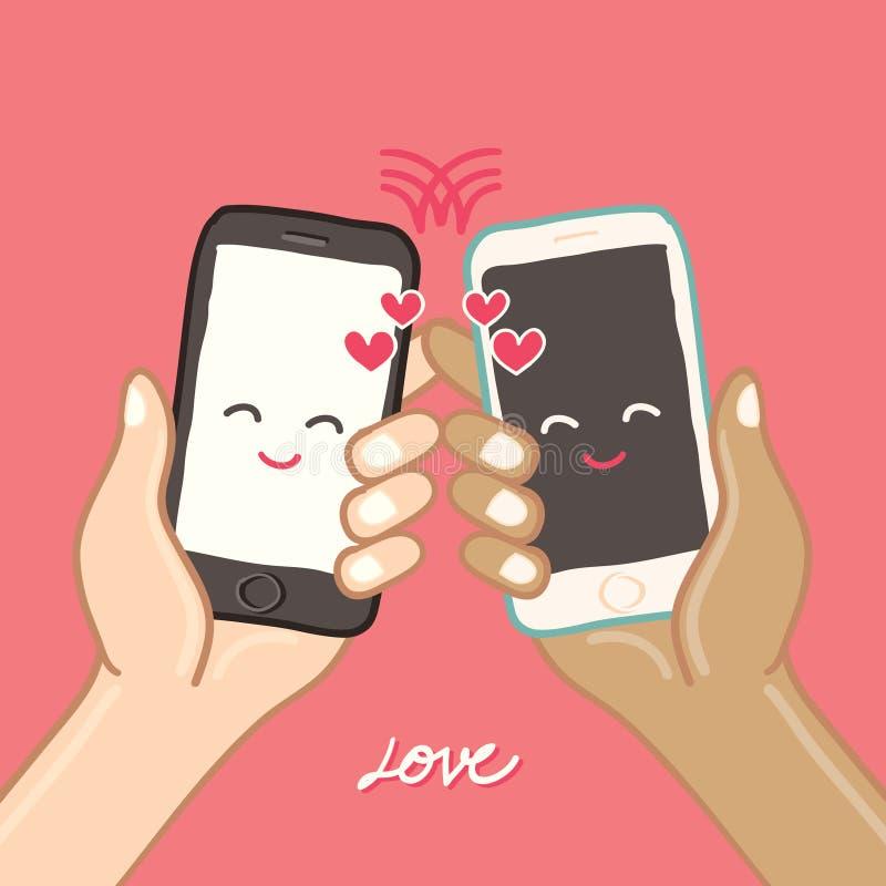 Las manos están sosteniendo el teléfono elegante para el amor libre illustration