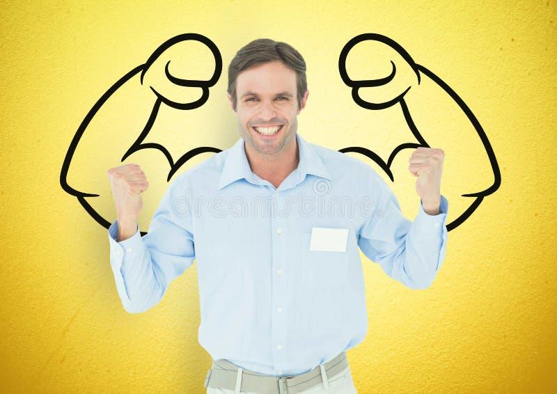 las manos felices del hombre de negocios para arriba delante de los puños dibujan en la pared amarilla stock de ilustración
