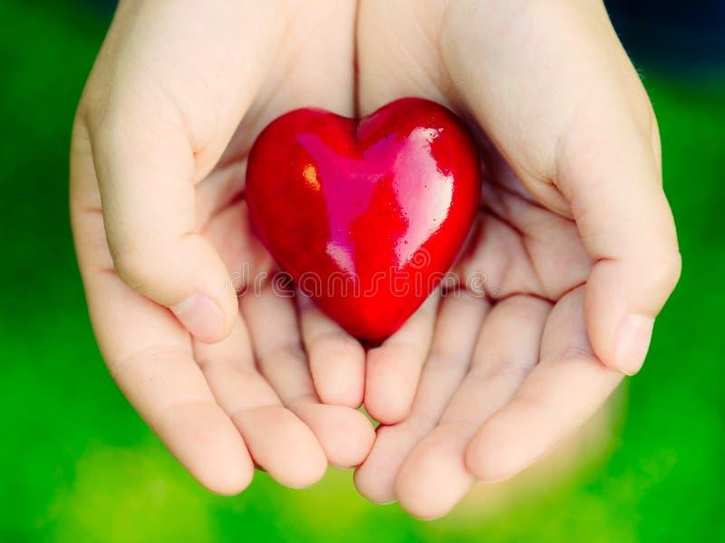 Las manos femeninas que dan el corazón rojo - ame el concepto fotografía de archivo libre de regalías