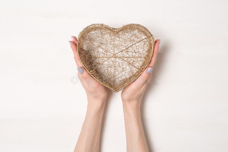Las manos femeninas sostienen la caja transparente del alambre de metal en la forma de un aislante del corazón en el fondo blanc imagen de archivo
