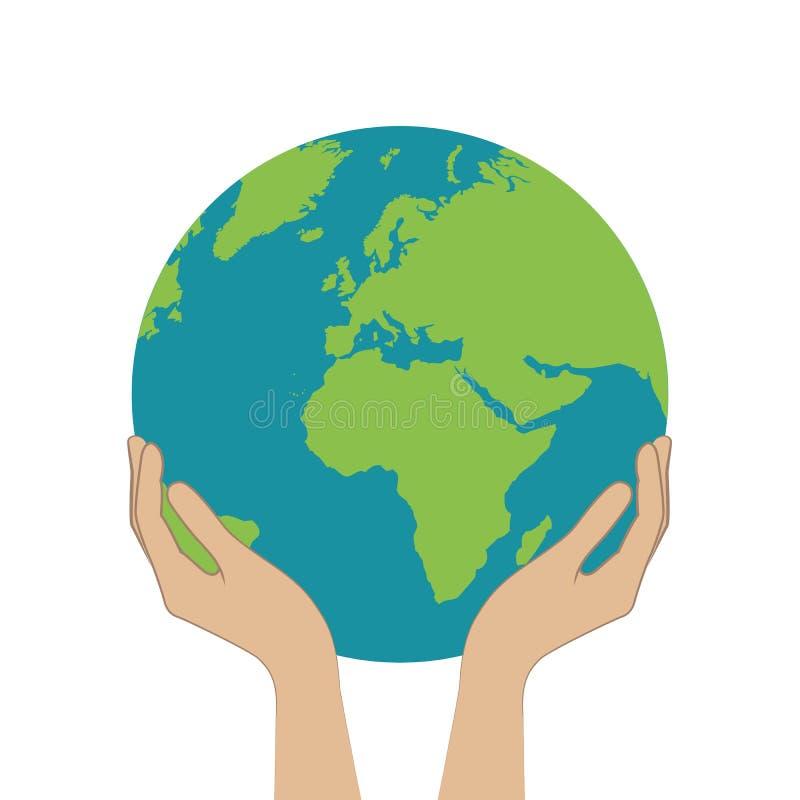 Las manos femeninas sostienen la tierra del planeta ilustración del vector