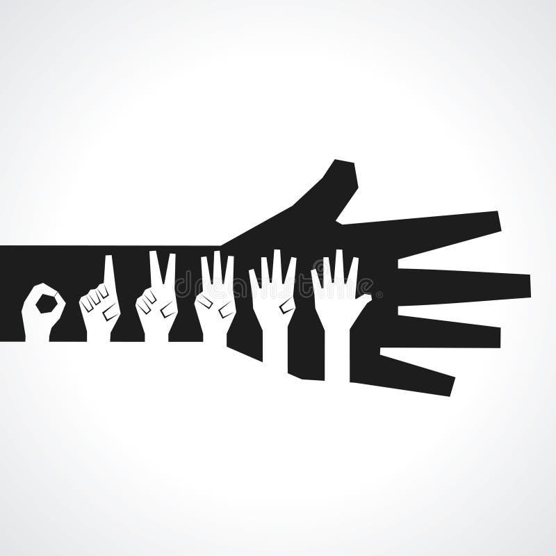 Las manos hacen el número cero a cinco libre illustration