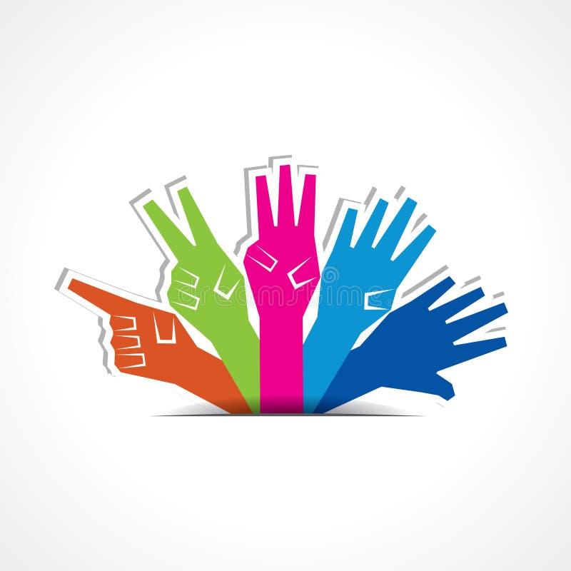 Las manos hacen el número uno a cinco stock de ilustración