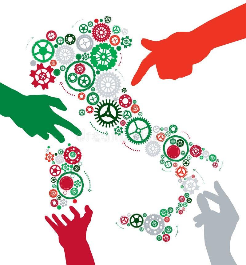 Las manos hacen que Italia trabaja ilustración del vector