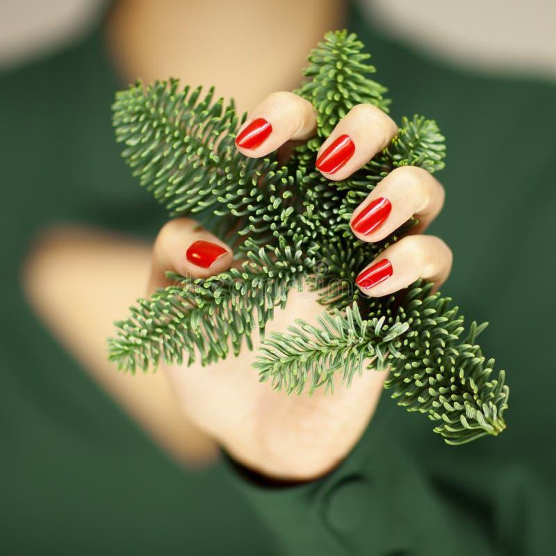 Las Manos Hermosas De La Mujer Con El Esmalte De Uñas Rojo Que ...