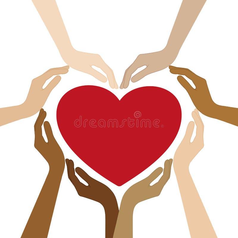 Las manos humanas con diversos colores de piel forman un corazón ilustración del vector