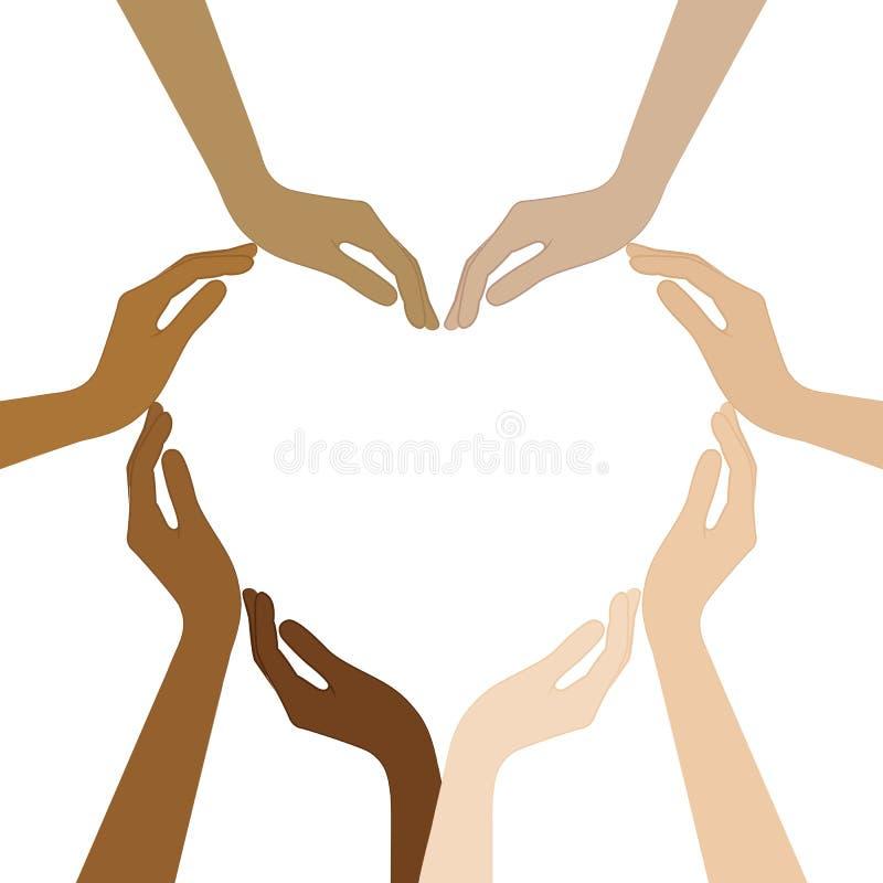 Las manos humanas con diversos colores de piel forman un coraz?n ilustración del vector