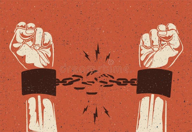 Las manos humanas rompen la cadena Concepto del lanzamiento de la libertad Encadenamiento quebrado El vintage dise?? el ejemplo d foto de archivo libre de regalías