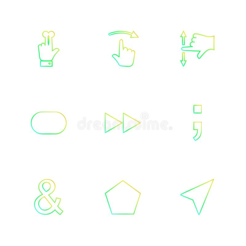 las manos, indicador, flechas, direcciones, iconos del EPS fijaron vector stock de ilustración