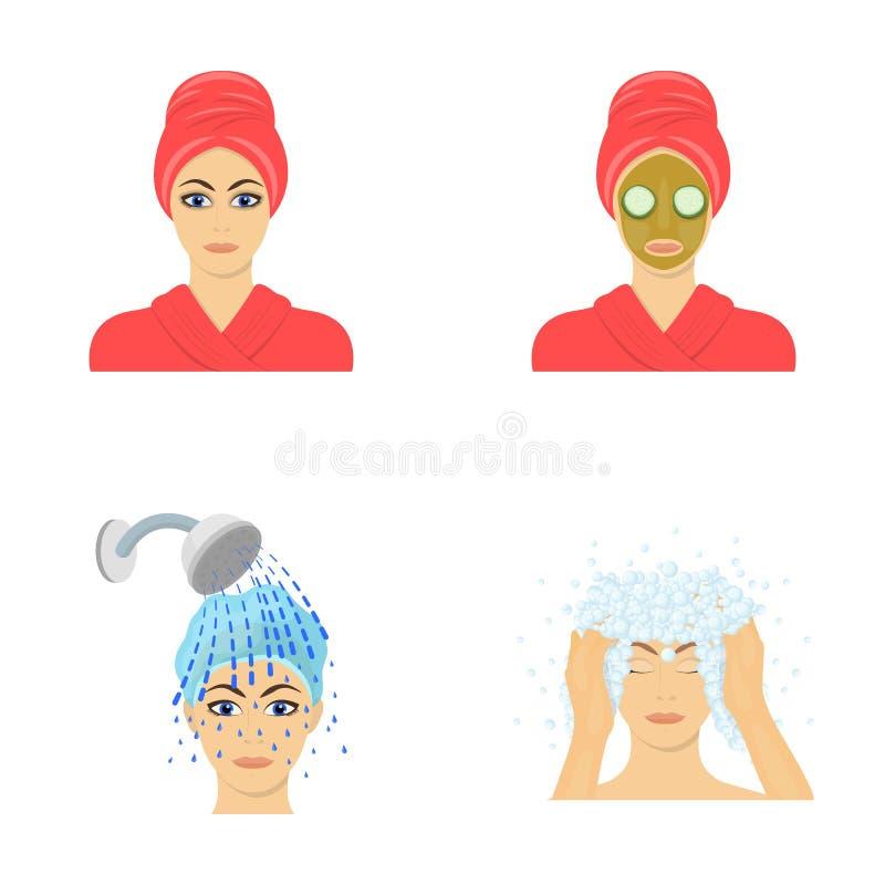 Las manos, la higiene, la cosmetología y el otro icono del web en estilo de la historieta El baño, ropa, significa iconos en la c stock de ilustración