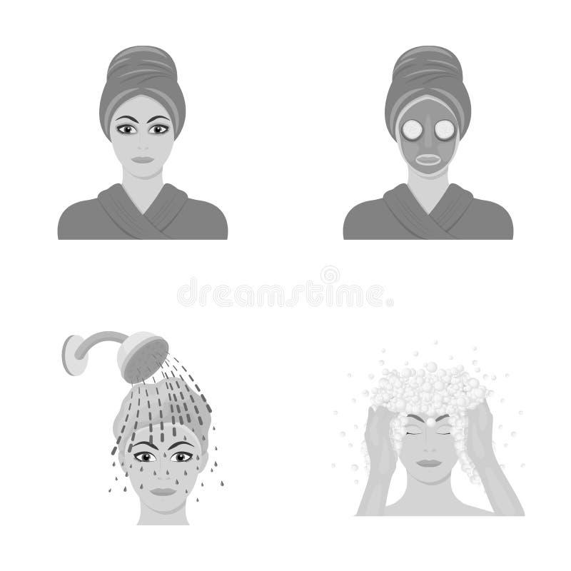 Las manos, la higiene, la cosmetología y el otro icono del web en estilo monocromático El baño, ropa, significa iconos en la cole libre illustration
