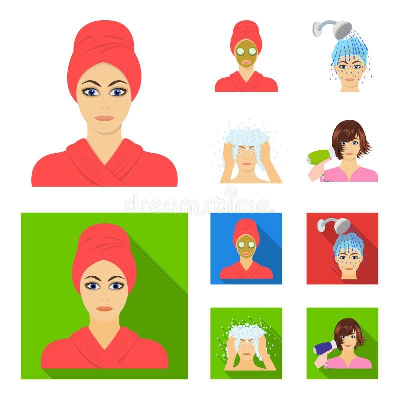 Las manos, la higiene, la cosmetología y el otro icono del web en la historieta, estilo plano El baño, ropa, significa iconos en  ilustración del vector