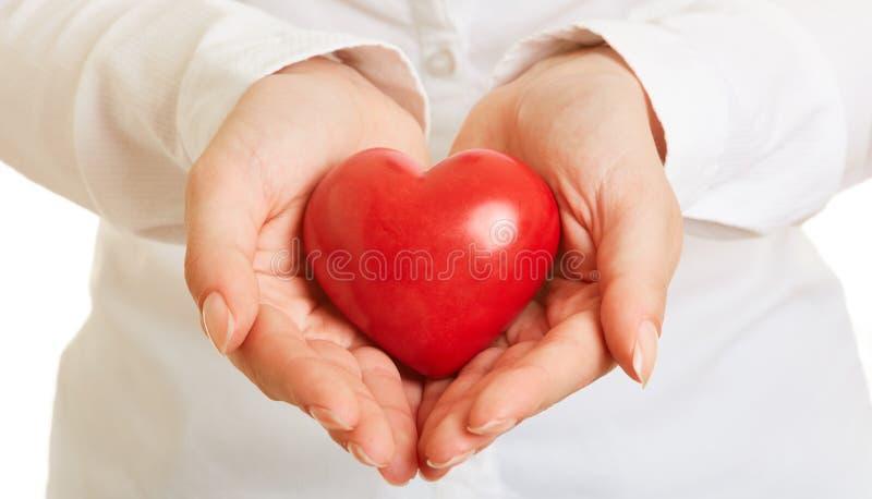 Las manos llevan a cabo el corazón como concepto de la precaución de la salud imagen de archivo libre de regalías