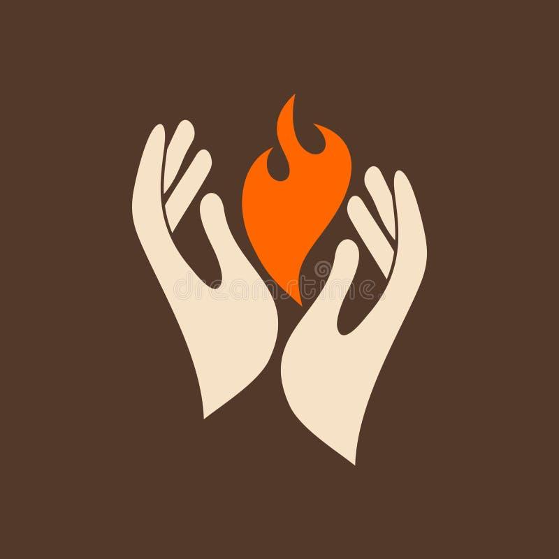Las manos llevan a cabo el fuego del Espíritu Santo ilustración del vector