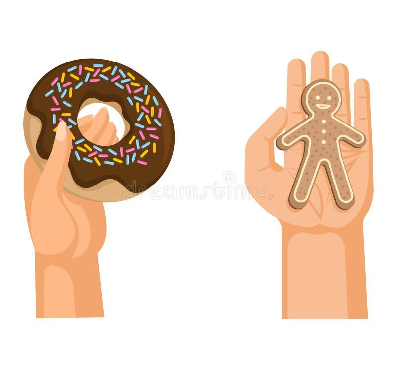 Las manos ofrecen dulzor con la seducción dulce de los dulces de la confitería del chocolate de la tenencia de brazo del vector d stock de ilustración