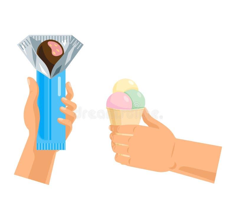 Las manos ofrecen dulzor con la seducción dulce de los dulces de la confitería del chocolate de la tenencia de brazo del vector d libre illustration