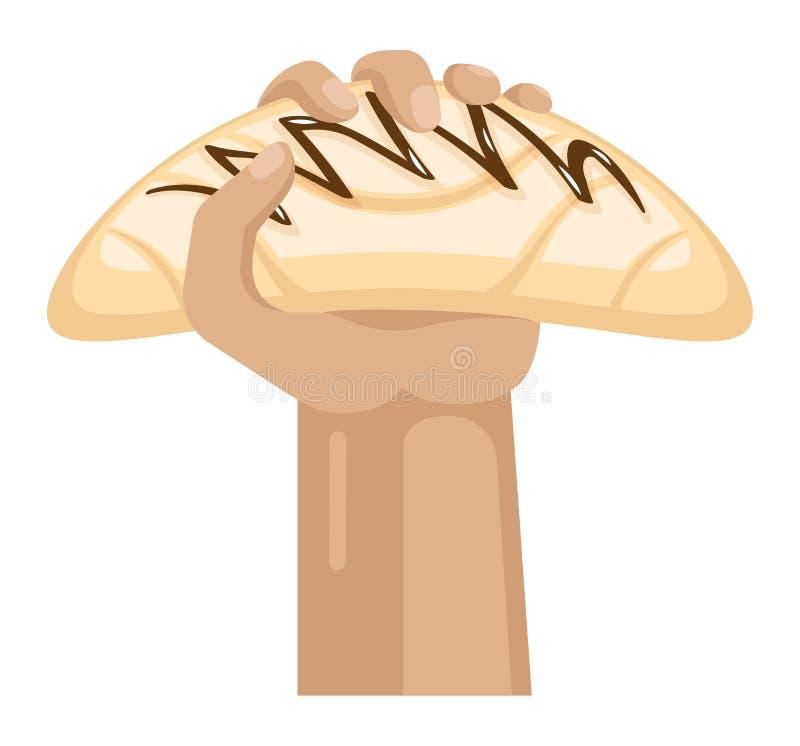 Las manos ofrecen dulzor con la seducción dulce de los dulces de la confitería del chocolate de la tenencia de brazo del vector d ilustración del vector
