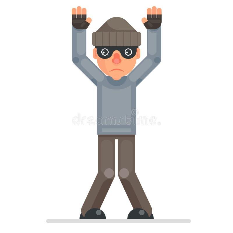 Las manos para arriba entregan vector plano capturado bulgar cogido del diseño del carácter del granuja de la historieta del ladr libre illustration