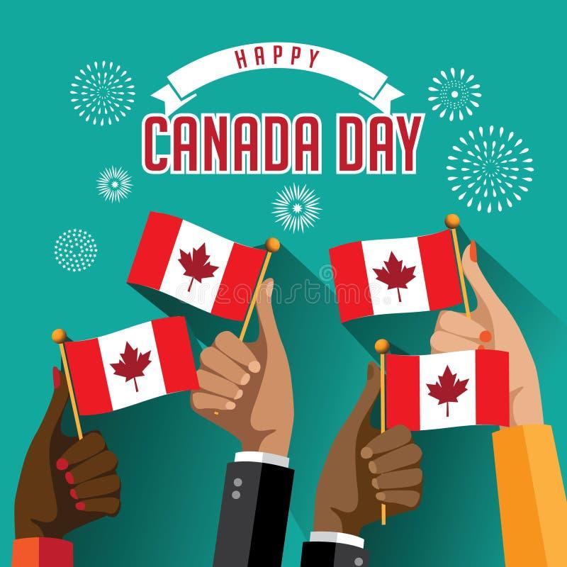 Las manos planas del día de Canadá del diseño que sostienen banderas con los fuegos artificiales diseñan ilustración del vector