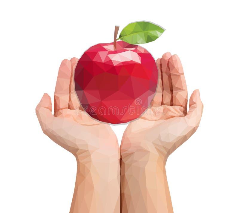 Las manos poligonales para hombre ahuecadas sostienen una manzana enorme ilustración del vector