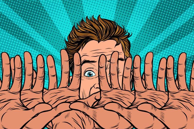 Las manos protege al hombre asustado ilustración del vector