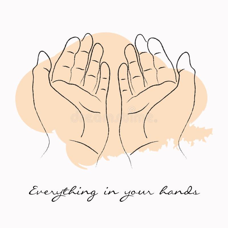 Las manos que celebran el ejemplo del vector de los movimientos del cepillo con la motivación citan todo en sus manos ilustración del vector