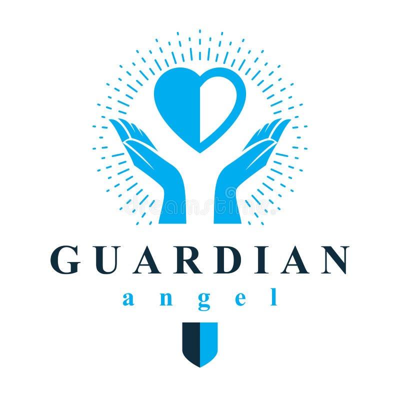 Las manos que cuidan llevan a cabo el corazón como el concepto de amor y de tratamiento Gu libre illustration