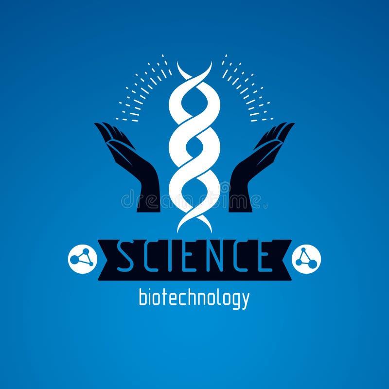Las manos que cuidan llevan a cabo un modelo de la DNA humana Bioingeniería como los di ilustración del vector