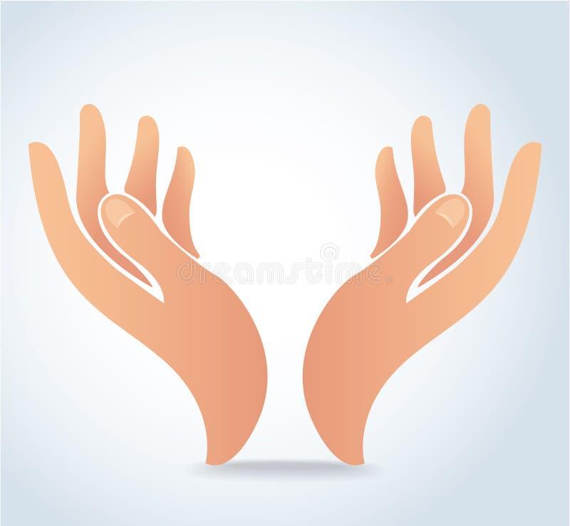 Las manos que llevan a cabo el vector del diseño, manos ruegan el logotipo ilustración del vector