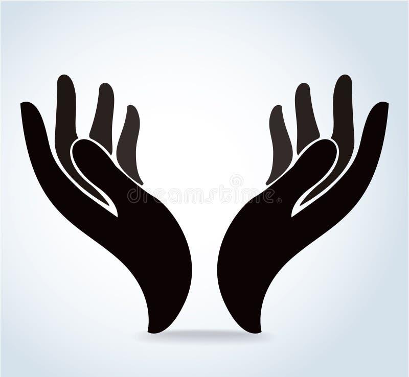 Las manos que llevan a cabo el vector del diseño, manos ruegan el logotipo stock de ilustración