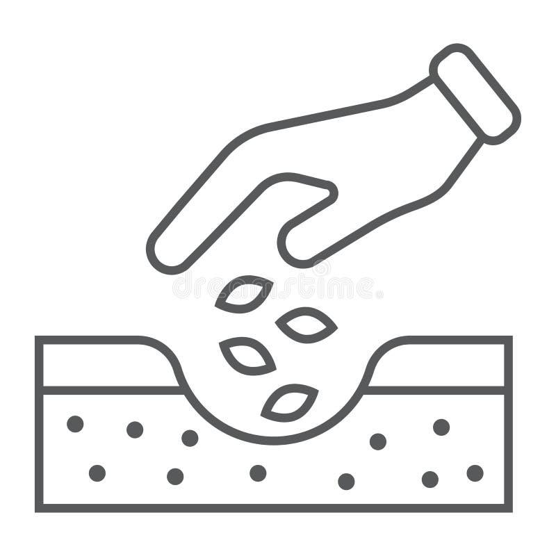Las manos que plantan las semillas alinean ligeramente el icono, cultivando stock de ilustración
