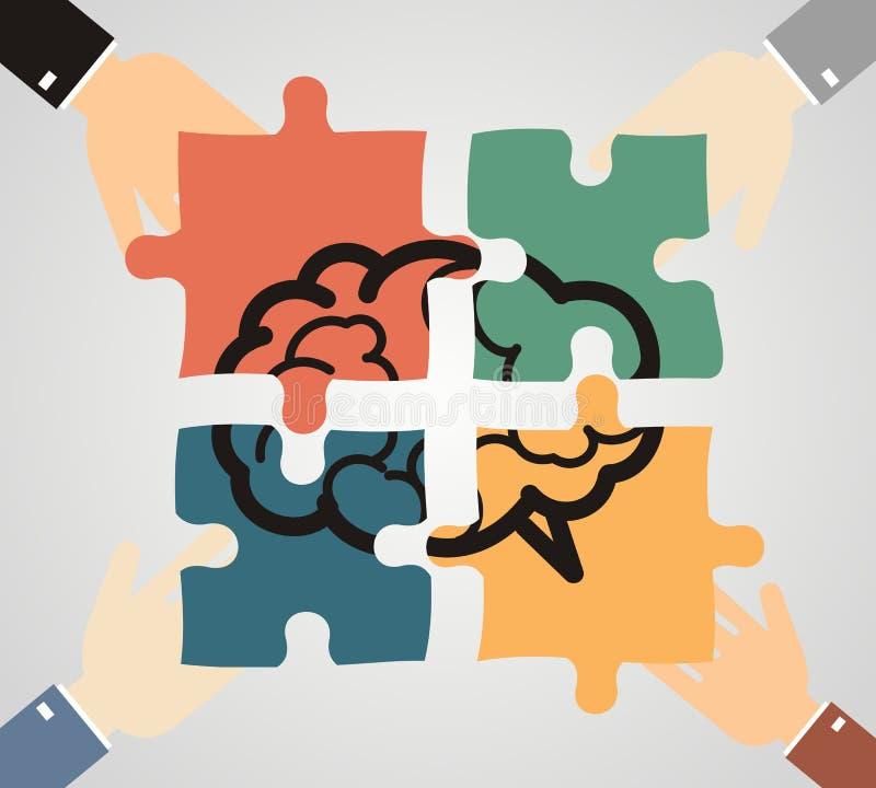 Las manos que ponían el pedazo en cerebro formaron rompecabezas Idea, negocio, tan libre illustration