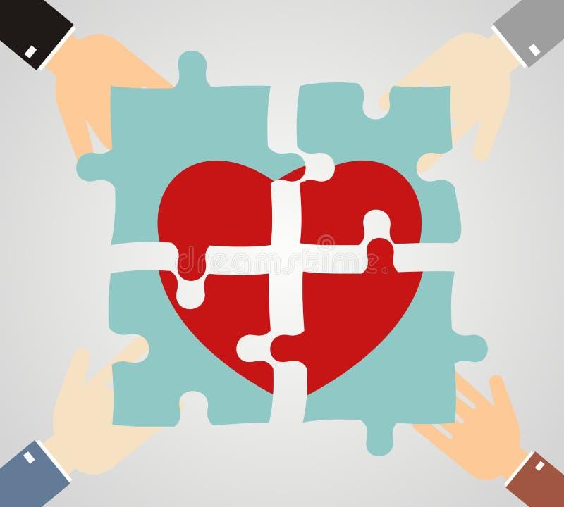 Las manos que ponen rompecabezas del corazón juntan Caridad, atención sanitaria stock de ilustración