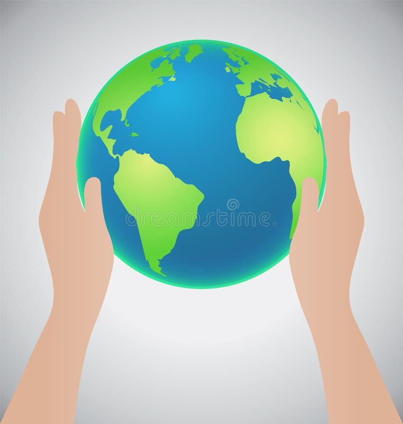 Las manos que sostienen la tierra, ahorran el concepto de la tierra ilustración del vector