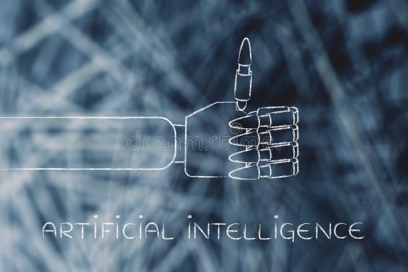 Las manos robóticas que hacen los pulgares suben el gesto, inteligencia artificial