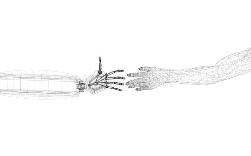 Las manos robóticas y humanas diseñan - arquitecto Blueprint - aislado ilustración del vector
