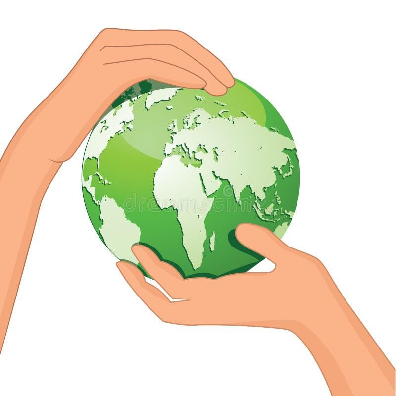 Las manos salvan la tierra stock de ilustración