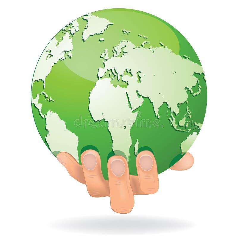 Las manos salvan la tierra conceptual. stock de ilustración