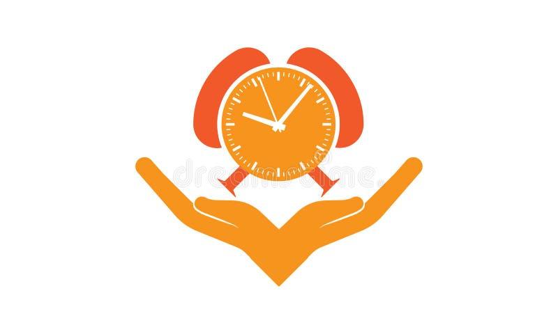 Las manos sostienen la moneda del reloj - las manos y tiempo - las manos cuidan tiempo ilustración del vector