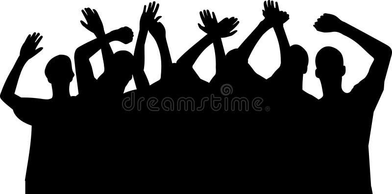 Las manos suben las siluetas, vector stock de ilustración