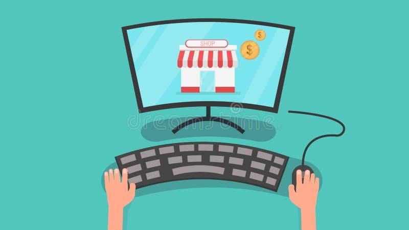 Las manos usando el ordenador con la tienda y las monedas vector el ejemplo concepto en línea de computadora personal y que hace  ilustración del vector