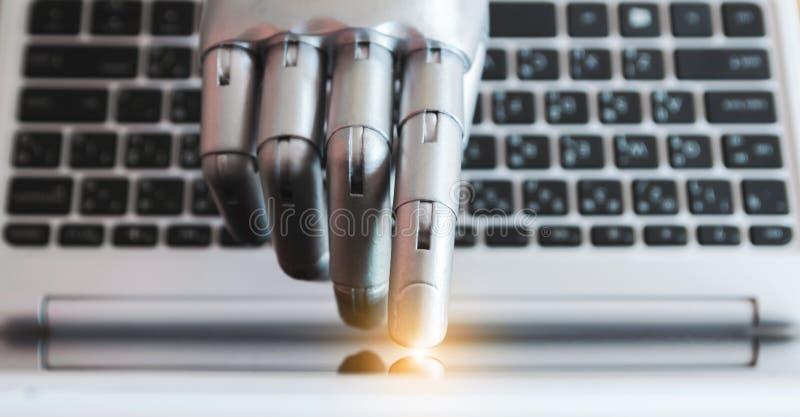 Las manos y los fingeres del robot señalan al concepto robótico de la inteligencia artificial del chatbot del consejero del botón fotos de archivo libres de regalías