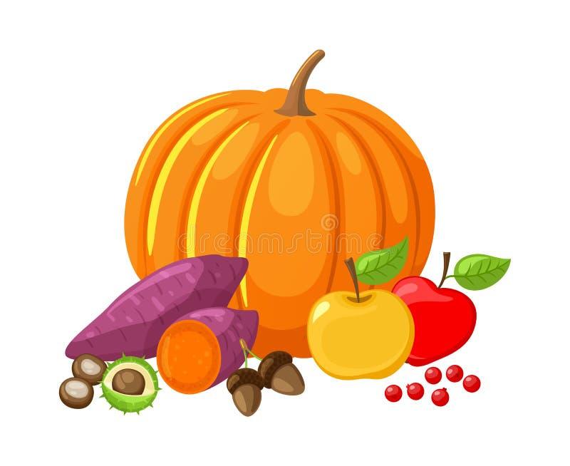 Las manzanas de la calabaza y de las remolachas dan fruto vector de los Veggies libre illustration