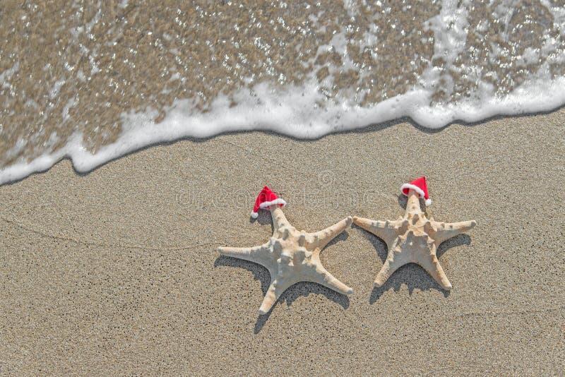 las Mar-estrellas se juntan en los sombreros de santa en la arena fotos de archivo