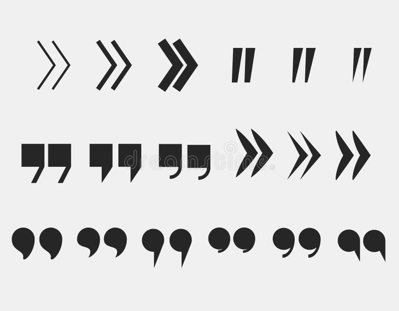Las marcas de la cita fijaron símbolos de la marca de cita ilustración del vector